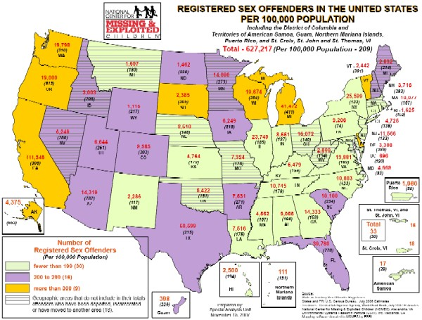 NCMEC map of sex crime registries in the USA