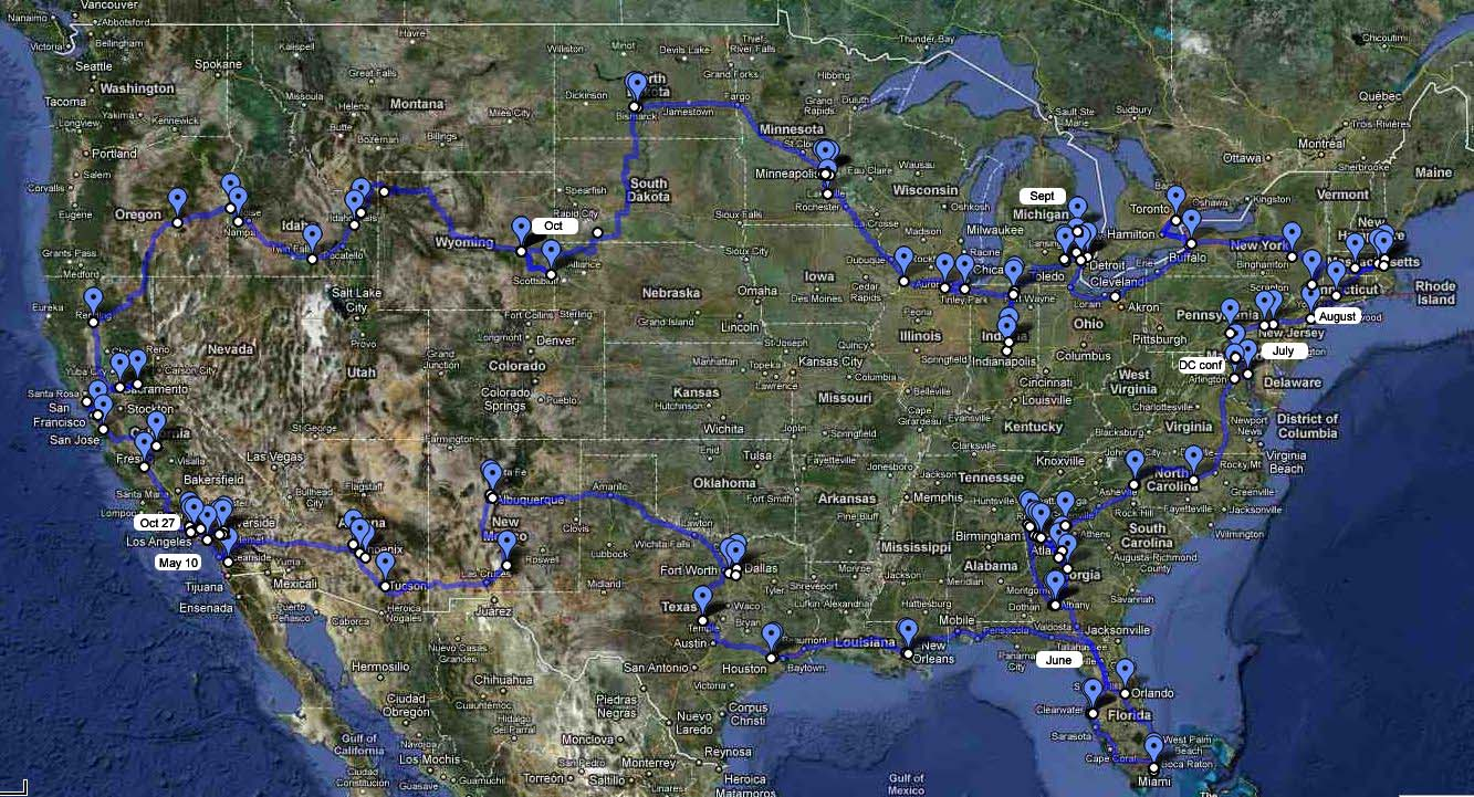 Registry Road Trip route, May to October 2010