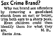 Sex Crime Brand?, Letter to the Editor, Los Angeles Times, May 31, 1951