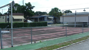 Basketball couort at the mobile home park of Florida Justice Transitions